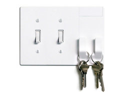 Walhub - Walhub Switch Plate Cover - Declutter your space and your wall with this integrated light switch plate cover. The cool design incorporates two hooks that can store your keys, umbrella or purse without installing additional hooks or shelves.