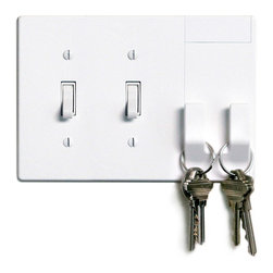 Walhub - 2Hang // Toggle - Declutter your space and your wall with this integrated light switch plate cover. The cool design incorporates two hooks that can store your keys, umbrella or purse without installing additional hooks or shelves.