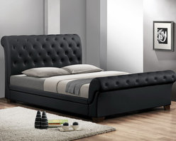 Baxton Studio - Baxton Studio Leighlin Black Modern Sleigh Bed with Upholstered Headboard - Traditional button-tufting and a timeless sleigh bed design are updated and modernized, resulting in this sleek, contemporary bed. The full size Leighlin Designer Sleigh Bed is made in Malaysia with buttery smooth matte black faux leather and underlying foam padding. An engineered wood frame is supported by dark brown wood legs and includes wooden slats: the Leighlin is a platform bed and does not require a box spring. Maintenance is simple: just wipe the bed's surfaces with a damp cloth before wiping dry. The Leighlin Bed is also available in white as well as both black and white in queen size (each sold separately). Assembly is required.