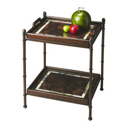 Butler Specialty - Butler Tray Table - This simply elegant and functional tray table is meticulously crafted from metal components and wood products. Finished in rich cocoa brown, the removable top tray and lower display shelf feature exotic pen shell veneers with inlays of black lip shell.