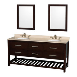 """Wyndham Collection - 72"""" Natalie Espresso Double Bathroom Vanity w/ Ivory Marble Top & Oval Sink - Classic yet elegantly modern, the Natalie bathroom vanity is a bold statement and a meaningful centerpiece for any bathroom. Inspired by the contemporary American design ethic and crafted without compromise, these vanities are designed to complement any decor, from traditional to minimalist modern."""