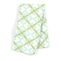 "Aqua & Green Diamond Lattice Custom Napkin Set - Our Custom Napkins are sure to round out the perfect table setting""""_whether you're looking to liven up the kitchen or wow your next dinner party. We love it in this bright aqua & grass green geometric on a smooth sateen cotton. this interlocking diamond pattern will fit any modern decor.  is this duck or sateen?"