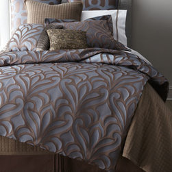 "Horchow - King Four-Piece Micah Comforter Set - Shimmery blue and chocolate four-piece ""Micah"" comforter sets display unique urban appeal. Made of polyester jacquard. Dry clean. Imported. Queen comforter set includes 92"" x 96"" comforter, queen dust skirt with 15"" drop, and two standard shams. King...."