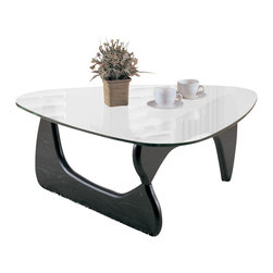 Homelegance - Homelegance Chorus 2-Piece Glass Coffee Table Set - The Chorus collection combines appealing style with functionality. The dramatic curves of the retro cool black table bases serve as the support for the unique shaped Glass tops of the Chorus collection.
