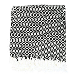 BrandWave - Diamond Dots Throw, Black - Stay cozy with this beautiful, hand-loomed throw. Made from 100% cotton, the diamond dots throw is soft and comfortable. Don't be afraid to take this throw into any room of your home. We love it in the family room as well as sitting at the bottom of your bed.