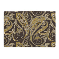 Black & Gold Paisley Custom Placemat Set - Is your table looking sad and lonely? Give it a boost with at set of Simple Placemats. Customizable in hundreds of fabrics, you're sure to find the perfect set for daily dining or that fancy shindig. We love it in this traditional intricate paisley in wicked shades of faded black & chartreuse on soft pure linen.