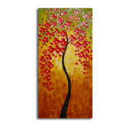 Orange petaled twiglet Hand Painted Oil Painting - Add some glow to your home with this painting. Vibrant colors enhance opposing shapes, and the curvature of the tree trunk balances the delicate fall of petals. This original painting is not only aesthetically pleasing, but it's also sure to become a family heirloom.