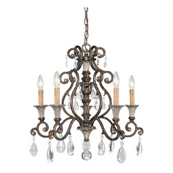 Savoy House - St.Laurence 5-Light Chandelier - Family is fashioned of new tortoise shell and silver finish with antique cream drip candle covers and crystal drops.