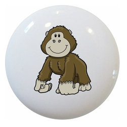 Carolina Hardware and Decor, LLC - Baby Gorilla Ceramic Cabinet Drawer Knob - 1 1/2 inch white ceramic knob with one inch mounting hardware included.  Great as a cabinet, drawer, or furniture knob.  Adds a nice finishing touch to any room!