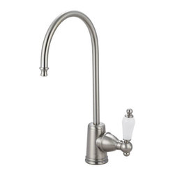 "Kingston Brass - Victorian Water Filtration Faucet, Satin Nickel - Known for its white porcelain material on the handle lever, the Victorian collection of water filtration faucets is thin but made with our finest solid brass construction for durability and longevity.; Fabricated from high quality brass material for durability and reliability; Lifetime hardisc ceramic cartridge; 3/8"" -14 NPS male threaded inlet shank; Install in decks up to 2"" thickness; 1/4"" turn ON/OFF water control mechanism; Max 2.2 GPM (8.3 LPM) water flow rate at 60 PSI; Material: Brass; Style: Classic; Faucet Holes: 1; Flow Rate GPM: 2.2; Valve Type: Ceramic Disc; Faucet Centers: Single Post; Spout Height: 11; Spout Reach: 6; Max Deck Thickness: 2; Handle Style: Porcelain Lever; Number of Handles included: 1; Weight: 1.65 lbs; Dimensions:15.27""L x 7.40""W x 2.74""H"