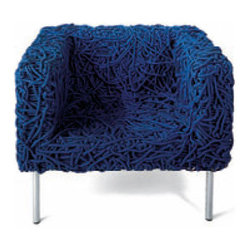 ecofirstart - Azul Armchair - Get looped in! This amazing armchair, hand crafted from cotton-clad acrylic rope, is the most comfortable conversation piece ever to grace your favorite modern setting. Sit and be stunning.