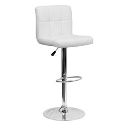 "Flash Furniture - White Quilted Vinyl Adjustable Height Bar Stool with Chrome Base - This sleek dual purpose stool easily adjusts from counter to bar height. The simple design allows it to seamlessly accent any area in the home. Not only is this stool stylish, but very comfortable to provide you with an amazing sitting experience! The easy to clean vinyl upholstery is an added bonus when stool is used regularly. The height adjustable swivel seat adjusts from counter to bar height with the handle located below the seat. The chrome footrest supports your feet while also providing a contemporary chic design. Counter Height or Bar Stool; White Vinyl Upholstery; Quilted Design Covering; Comfortable Seat with Mid-Back; Swivel Seat; Height Adjustable Seat with Gas Lift; Foot Rest; Chrome Base; Base Diameter: 17.625""; CA117 Fire Retardant Foam; Designed for Residential Use; This Item Must Be Purchased in Increments of 2; Overall dimensions: 17.5""W x 18""D x 37"" - 45.5""H"