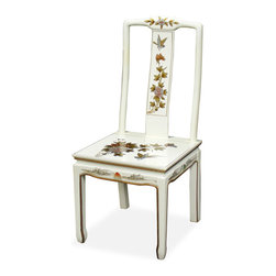 China Furniture and Arts - Hand Painted White Lacquer Chinese Peony Design Chair - Delicately hand painted in Chinese peony design  and accompanied by sleek gold lines along the edges of the legs, this chair is an elegant work of art. A dancing Chinese maiden made of mother of pearl decorates the back of the chair. Hand applied white lacquer gives off a shiny finish.