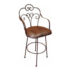 """Iron Rustic Swivel Bar Stool - Another Tres Amigos exclusive. Solid iron bar stools with swivel top. Great for indoor or outdoor use. Many great designs. These are Heavy duty and ready for the elements. Faux leather, cushioned seat for long lasting durability. This stool Allows you to enjoy the elevated dining experience. Barstools are sold in pairs Only. Price is per barstool. Seat height is 28"""""""