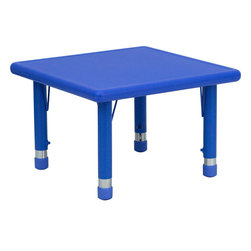Flash Furniture - 24'' Square Height Adjustable Blue Plastic Activity Table - Stop kidding around and make learning fun. Primary colors speak to children in bold, bright ways, making this durable table an ideal way to encourage their artistic and creative impulses. Featuring a plastic top and steel welding underneath, it's certain to last through the childhood years.