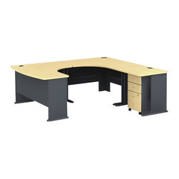 BBF - Bush Series A 4-Piece U-Shape Right-Hand Computer Desk in Beech - Bush - Office Sets - WC14366PKG2 - Bush Series A  3 Drawer Mobile Vertical Wood File Storage Cabinet in Beech and Gray (included quantity: 1) Put your files in good hands with the Bush Series A Collection Three Drawer File Cabinet, a subtle solution which fits easily under virtually any desk. This classy filing cabinet stands nicely on its own and will excellently complement other Bush Furniture pieces.  Features: