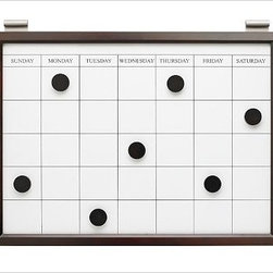 Magnetic Whiteboard Calendar, Espresso stain - Clever and versatile, our modular Daily System is the ultimate home-office assistant. To create a system that's ideal for your space, {{link path='pages/daily.html'}}click here{{/link}} to view our Daily System Tool. Our modular Daily System allows you to create a customized system for supreme organization in any room. Each Daily System modular component slides onto a wall-mounted stainless steel rod, so you can easily move or add each piece. Corkboard, letter bin and office organizer take the 12-inch rod; all other pieces take the 24-inch rod. The Top Display Rod is sold separately. Catalog / Internet Only.