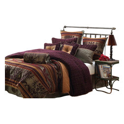Hallmart Collectibles - Petra Comforter Set (Queen) - Choose Size: Queen. Dry clean only. Made of Polyester. Plum multi colored