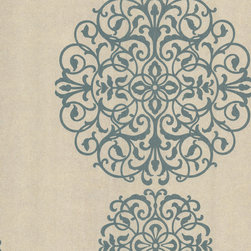 Kenneth James - Iman Aqua Medallion Wallpaper - Think big for your favorite setting! This marvelous medallion print truly makes a statement, but its subtle hues keep if from overpowering your decor.