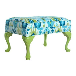 Used Ikat Upholstered Ottoman - Stylish Ikat upholstered ottoman. This ottoman has tall cabriole legs made of carved wood, painted in a dusty apple green lacquered paint. The designer fabric is an Ikat print comprised of varying blues, greens and white.