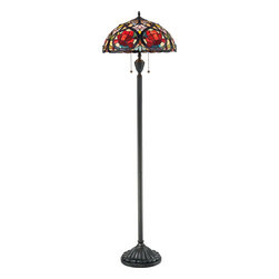 Quoizel - Quoizel TF879F Larissa Tiffany Floor Lamp - This beautiful Tiffany style collection features a handcrafted, genuine art glass shade created in rich jewel tones as well as soft pastels. The glass is arranged in a classic Art Nouveau pattern.  The warm color palette creates a harmonious balance of light, and the complementary base is finished in a vintage bronze.