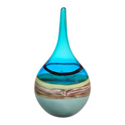 Viz Glass, Inc. - Blue Coral Decorative Accent - Style your home using this free-form Blue Coral Decorative Accent. With a round bottom and slim neck, this handblown glass vase uses a blend of cohesive colors and patterns to make a dramatic, unique statement. Its gray, aqua, turquoise, black, amber and brown layers evoke images of waves crashing against a sandy shore.