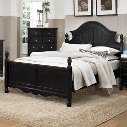 Homelegance Loretta Poster Bed in Black & Dark Oak - Queen