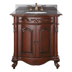 """Avanity - Avanity Provence 31"""" Single Bathroom Vanity - Antique Cherry - The Provence 30"""" vanity is offered in a beautiful distressed cherry wood finish with hand carved French details. This vanity includes a concealed drawer inside for easy storage. Coordinating pieces include matching mirrors and linen tower to complete the look. Features31""""W x 21.5""""D x 34""""HVanity only in Antique Cherry finishPoplar solid wood and veneerHand crafted detailsAntique brass finished hardwareAntique brass finished hardware2 soft-close doors1 interior soft-close drawerAdjustable height levelers How to handle your counterSpec Sheet Natural stone like marble and granite, while otherwise durable, are vulnerable to staining from hair dye, ink, tea, coffee, oily materials such as hand cream or milk, and can be etched by acidic substances such as alcohol and soft drinks. Please protect your countertop and/or sink by avoiding contact with these substances. For more information, please review our """"Marble & Granite Care"""" guide."""