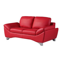 Global Furniture - Global Furniture Loveseat Natalie Red - Add a pop of color to your current d&#233:cor with this contemporary loveseat upholstered in red bonded leather. This piece is designed with angled lines, uniquely shaped legs and provides plush comfortable seating.