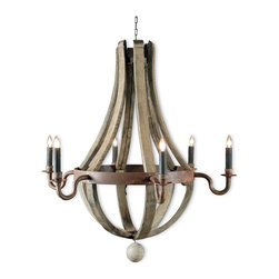 Kathy Kuo Home - Sejour French Country Natural Oak 6 Light Chandelier - Bring French Country charm to your chateau with this chic wine barrel candelabra chandelier. Reclaimed white oak staves have an antique wax finish for a uniquely individual piece. Dark brown rusted iron hoops hold six luminous lights for your romantic rendezvous.