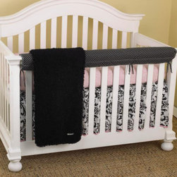 Cotton Tale Designs - Girly Front Crib Rail Cover Up Set - A quality baby bedding set is essential in making your nursery warm and inviting. All Cotton Tale patterns are made using the finest quality materials and are uniquely designed to create an elegant and sophisticated nursery. What could be cuter than this adorable set Girly, in pink and black. Girly Front Crib Rail Cover Up Set includes fitted crib sheet, dust ruffle, coverlet, and front rail cover up. Sweet, bright pink dot trim with contemporary floral and furry curly Q fleece coverlet in black. Girly offer this great idea, this rail cover-up which protects your foot board on the convertible cribs and it looks great, measuring 51 x 15. For the parent choosing not to use a bumper, it can add the needed decor lost when the bumper is removed. Sheet in pink skin with black and white dust ruffle, pink bias trim. This is a smashing nursery for your baby girl. 100% cotton twill. Wash gentle cycle, separately in cold water. Tumble dry low or hang dry.