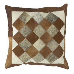 Home Decorators Collection - Quilt Squares Patterned Pillow - The quilt pattern of this handsome home accent will give your cabin, den or family room a rustic charm. Perfect for adding comfortable style, this decorative pillow creates an instant focal point and makes a great conversation piece. You'll be glad you ordered the Quilt Squares Patterned Pillow.Hand crafted in India.Constructed of 100% leather.High quality poly filler gives the perfect firmness.