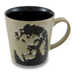 Zeckos - Black and Beige Lion Face 13 Oz. Ceramic Coffee/Tea Mug - This is the perfect mug to get you 'roaring' in the morning It features a majestic lion's face on the smooth glossy beige background that looks like stone, and a contrasting black interior. Made from ceramic, it'll hold 13 ounces of your favorite beverage, and could also be used to serve up a yummy ice cream treat, soup or marshmallow topped hot cocoa on a cold winter's day at 4 inches tall, 3.75 inches diameter (10x9 cm), and 5.5 inches long including the handle, and is microwave and dishwasher safe. It makes a wonderful gift for a tiger enthusiast sure to be enjoyed