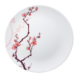 Ink Dish - Ink Dish Paul Timman Cherry Ink 10-Inch Dinner Plates, Set of 4 - Cheery CherryDraw the line high when it comes to your dinnerware. With Ink Dish's Cherry Ink 10-Inch Dinner Plates, Set of 4, you can always dine in pure style. Each plate is made from A-quality porcelain and features a stunning, tattoo-inspired design created by world-renowned tattoo artist Paul Timman. The cherry blossom motif follows the delicate sumi style of Japanese tattooing, where soft edges replace black outlines. Embrace the Asian-inspired look, or let the floral design add a soft, feminine feel to your table.Set of four dinner platesMade in Bangladesh