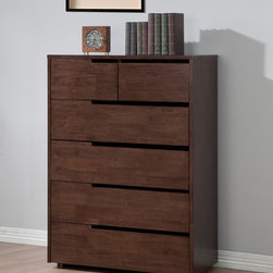 None - Burke 6-drawer Bedroom Chest - The Burke six-drawer bedroom chest will add style and elegance to any decor, combining a durable wood construction with a dark walnut finish. The drawers on this contemporary piece rest on metal glides.