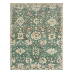 """Loloi Rugs - Loloi Rugs Empress Collection - Aqua / Beige, 2'-0"""" x 3'-0"""" - Inspired by our top-selling Xavier rugs, the Empress Collection features the same 100% jute hand-knotted constructionreimagined in more versatile transitional designs. Each piece offers a thick-bodied pile, chunky knots, and beautifully saturated colors."""