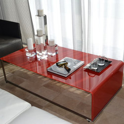 Showroom Pieces - Liven up your living room - Red glass coffee table now available!