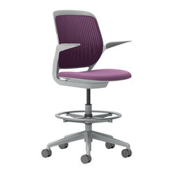 Steelcase - Steelcase Cobi Stool, Platinum Frame w/Arms & Standard Casters, Concord - Want to get busy? Get comfortable. This cool stool features automatic, intuitive adjustments and support in a variety of postures, so your clock-watching days are over and your productivity will soar. All the incredible colors? That's your bonus!