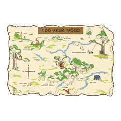 York Wallcoverings - Disney Winnie Pooh Friends 100 Aker Wood Map Wall Accent - Features: