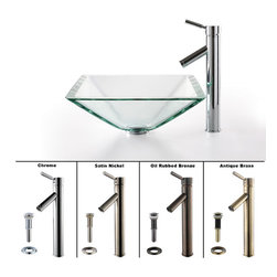 Kraus - Kraus Clear Aquamarine Glass Vessel Sink and Sheven Faucet Satin Nickel - *Add a touch of elegance to your bathroom with a glass sink combo from Kraus