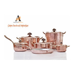 Artisan Handmade 11 Piece Cookware Set by Amoretti Brothers - Handcrafted 11 piece copper cookware set by Amoretti Brothers, with signature flower lids with 2mm hammered copper and tinned on the cooking surface.