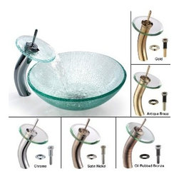 Kraus - Kraus Mosaic Glass Vessel Sink and Waterfall Faucet Chrome - *Add a touch of elegance to your bathroom with a glass sink combo from Kraus