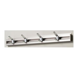 Arrange A Space - Four Coat Hook - Includes hardware. Anodized aluminum rail. Adjustable hooks. Easy to installs into wood studs. Made from metal. Polished chrome finish. 32 in. W x 1 in. D x 3 in. H (3 lbs.)Arrange a Space's patented closet systems provide you with a unique and innovative solution for all of your space and storage needs. Created as a more flexible and versatile option for closets and storage areas than the common white wire or wood shelf, rod systems of the past.