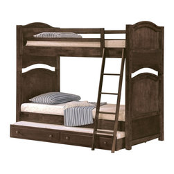 Homelegance - Homelegance Aris Bunk Bed, Brown Cherry, Twin Over Full With Trundle - Classic in design and bold in style, the youth version of our popular Aris collection adds warmth and character to your child's bedroom. Bun feet serve to support the simple yet elegantly designed case pieces, while the warm brown cherry finish on select hardwoods and veneers completes the overall look. Student desk with hutch and coordinating chair are also available.