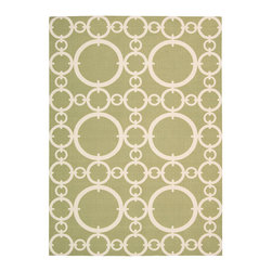 """Waverly - Waverly Sun & Shade SND02 5'3"""" x 7'5"""" Citrine Area Rug 14769 - The interconnected, chain link inspired pattern, Connected, rests beautifully atop a citrine backdrop creating a classic Waverly rug by Nourison. This piece is an ideal match to a wide range of styles. Made for both indoors and outdoors, this simple yet elegant modern rug is perfect for the kitchen, out on the deck, or any area where easy cleaning is important."""