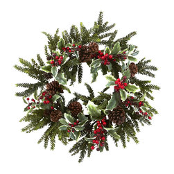 Nearly Natural - 22in. Holly Berry Wreath - Nothing says 'fresh' like some crisp winter weather. And nothing captures that essence quite like this brisk and beautiful 22' Holly Berry Wreath. With lush, life-like pine sprigs, faux pinecones, and bursts of cheery Holly Berry, this wreath will have you singing 'Jingle Bells' daily. Buy one for a decoration, and one for a gift for that winter-loving person in your life.
