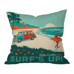 DENY Designs - Anderson Design Group Surfs Up Throw Pillow, 18x18x5 - Cowabunga! Ride a wave of nostalgia with this bodacious tribute to surfing, sand and sun. The retro design appears on both the front and back of this woven polyester pillow, which comes complete with insert. Perfect for the rumpus room, bedroom, beach — or wherever the tide takes you.