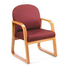 Boss Chairs Boss Oak Frame Side Chair in Burgundy Fabric