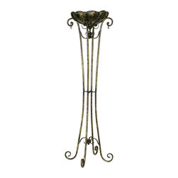 Sterling Industries - Sterling Industries Tall Fujian Plant Stand X-2000-62 - This tall Sterling Industries Fujian plant stand features a large bowl-shaped planter that sits within multiple arms that feature curled tips. The slender legs give way to coordinating curled ends at the feet, pulling this gentle and elegant look together.