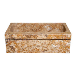 The Allstone Group - KA3319SB Honey Comb  Honed Kitchen Sink - Natural stone strikes a balance between beauty and function. Each design is hand-hewn from 100% natural stone.  Allstone farmhouse or apron sinks are very versatile.  They can be installed flush, above or below your countertop depending on what you want to achieve.  They are also suitable for waste disposal units or basket strainer waste